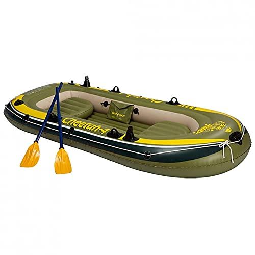 KUANDARMX Kayak, Bote Inflable para 4 Personas, Canoa, Balsa, Kayak Inflable con Bomba De Aire, Remo De Cuerda, Bote A La Deriva Plegable Resistente Al Desgarro