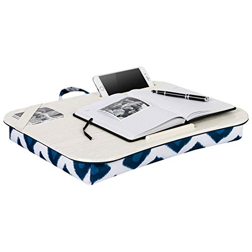 LapGear Designer Lap Desk with phone holder - Navy Ikat - Fits up to 17.3 Inch laptops - Style No.45523
