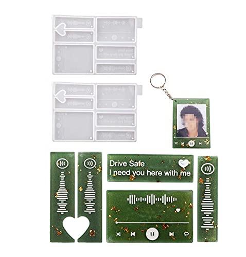 Yalulu 2Pcs Keychain Resin Casting Mold, MP3 Music Player Pendant Keychain Epoxy Silicone Mold Jewelry Mould for Resin Epoxy, Jewelry Making
