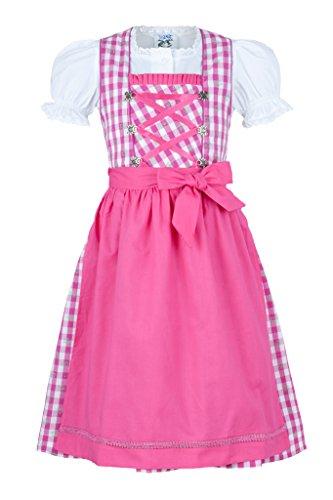 Isartrachten Mädchendirndl Kinderdirndl pink 3-TLG mit Bluse (146)