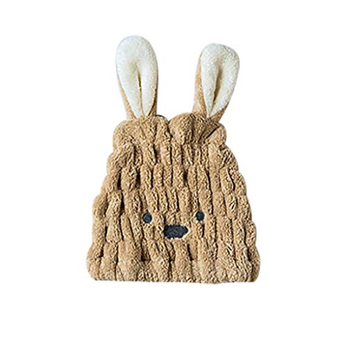 99AMZ Coton 100% Ultra Absorbante Chapeau De Serviette Cheveux Sechage Rapide Serviette De Bain Head Turban Wrap Mignon Lapin à Longues Oreilles pour Les Cheveux Longs pour Soin (Marron)