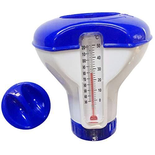 Writtian Dosierung Chlordosierschwimmer mit integriertem Thermometer, Pool Dosierschwimmer Schwimmbecken für 20, 200 g Tabletten, 5 inch Pool zubehör
