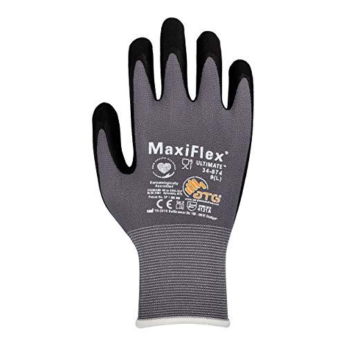 EISENHELD MaxiFlex Ultimate 34-874 12 Paar Nitrilhandschuhe Arbeitshandschuhe Schutzhandschuhe Griphandschuhe Gartenhandschuhe EN 388:2016 + A1:2018 (4131A) + 10 Sicherheitsregeln (Größe 9 (L))