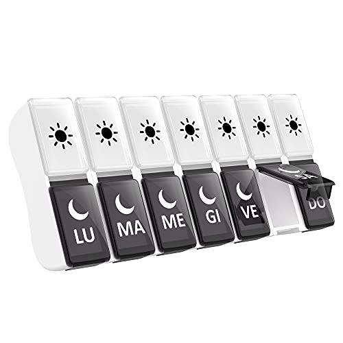 PortaPillole Settimanale ITALIANO Piccolo, 7 Giorni Pill Box Giornaliero 14 Scomparti Grande Stampa Pill Organizer 2 Volte al Giorno Scatola della Medicina Pillole Organizzatore (Nero)