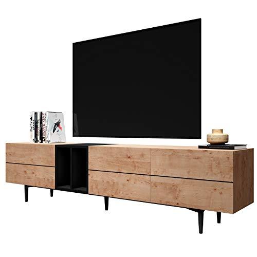 Newfurn TV Lowboard Schwarz Wildeiche TV Schrank Vintage Industrial - 195x48x37 cm (BxHxT) - Fernsehtisch TV Board Rack - [Nizza.Five] Wohnzimmer