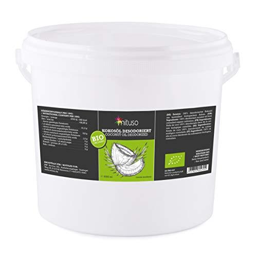 aceite de coco orgánico mituso, insípido (desodorizado), 1 paquete (1 x 5000 ml) en un práctico cubo