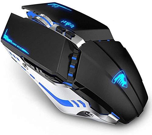 Uiosmuph T12 LED Ratón inalámbrico de 2,4 GHz,ratón silencioso Recargable con Adaptador de Receptor Nano USB Tipo c para Ordenador portátil Tablet PC (Black)