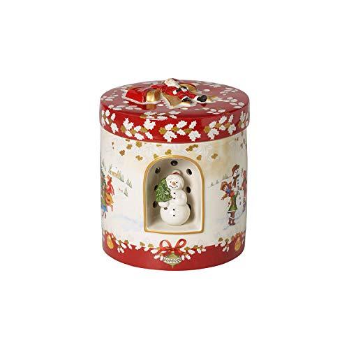 """Villeroy & Boch - Christmas Toys Windlicht """"Kinder"""" groß rund, dekoratives Geschenkpaket aus Hartporzellan, für Teelichter geeignet, integrierte Spieluhr, bunt"""