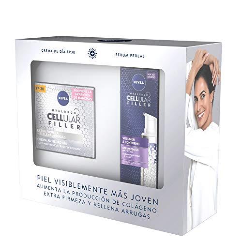 NIVEA Pack Hyaluron Cellular Filler Antiedad y Extra Firmeza, caja de regalo con crema antiedad de día (1 x 50 ml) y sérum facial antiarrugas (1 x 30 ml)