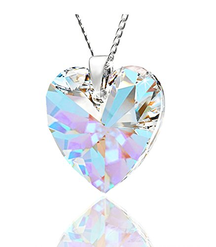 Royal CrystalsMothers Love Heart Pendant Necklace for Women Made with Swarovski Crystals Blue Aurora Borealis Sterling Silver 925 Pendant Necklace, 18