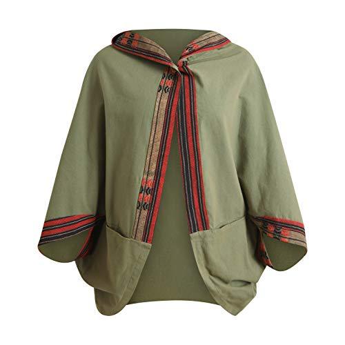virblatt - Kimono pour femmes et hommes | 100 % coton | Poncho pour homme kimono bohème | Design tribal | Veste kimono pour homme - vert - L/XL