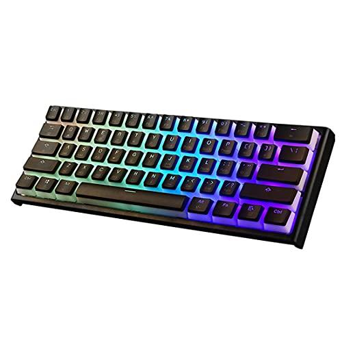 Morton3654Mam MK25 60% mecánico, teclado portátil para juegos, 61 teclas, retroiluminación LED RGB para Mac, Android, Windows (interruptor marrón)