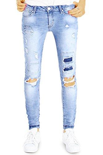 bestyledberlin Damen Slim Fit Jeans, Aufgerissene Designer Hüftjeans, Hüftige Röhrenjeans j39g 34/XS