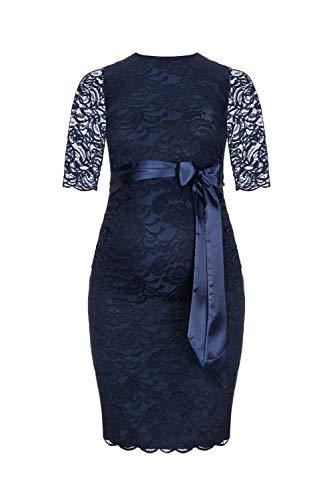 Herzmutter Umstands-Spitzen-Kleid - Elegantes-knielanges-Schwangerschafts-Kleid - für Festliche Anlässe-Hochzeit-Feier - Mit Spitze - Creme-Champagner-Blau-Rot-Rosé - 6200 (Dunkelblau, S)