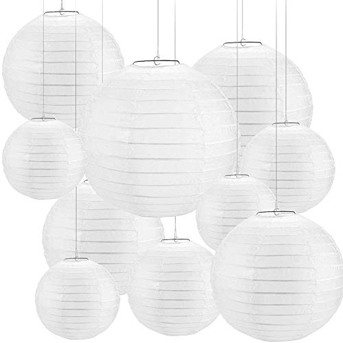 Uniquk 30 PièCes SéRies 4 Pouces-12 Pouces Papier Blanc Lanterne Lanterne Chinoise Papier Lampion FêTe de Mariage Halloween éVéNement de NooL Suspendu DéCor Faveur