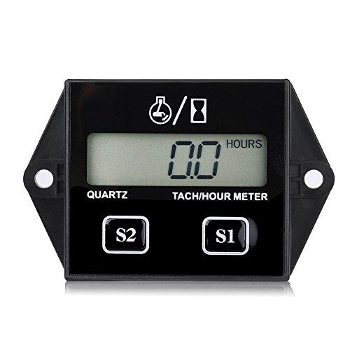 Jauge de Tachymètre, Keenso Moteur Jauge de Tachymètre Numérique Compteur Horaire LCD Tach/Heure Gauge RPM Testeur pour 2/4 Course