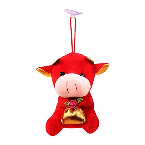 2021 Jahr des Ochsen Maskottchen, Chinesisches Neujahrs-Ochsenplüschtier, Kalb Anhänger, Glückstasche, Kuh Anhänger Geschenk Gefüllte Plüschviehpuppe Glückskuh