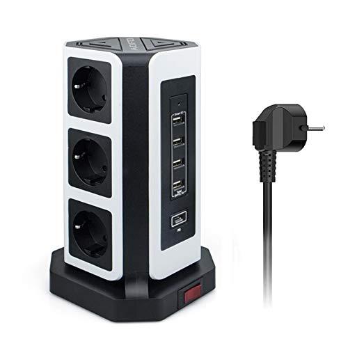 AOFO 9 Fach Steckdosenleiste (2500W/10A) 4 USB (5V 3.1A)1PD(18W) Quick Charging Mehrfachsteckdose mit Schalter Steckerleiste Mehrfachsteckdosen Überspannungsschutz