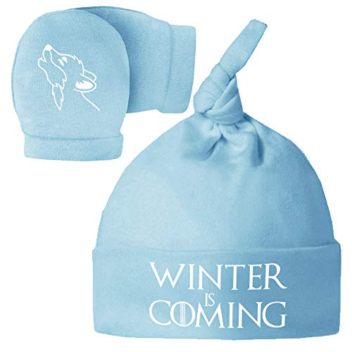 Pack Gorro y Manoplas recién Nacido. Winter is Coming. Parodia Juego de Tronos - Game of Thrones. Bebé Friki.
