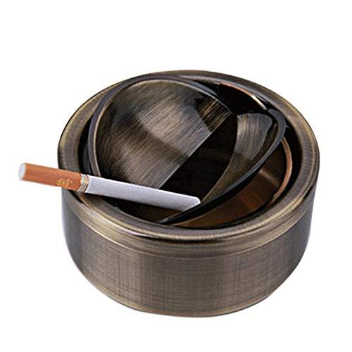 Xljh Cendrier de Voiture cendrier en Acier Inoxydable Vert Bronze cendrier Coupe-Vent Double Ouvert Swing fermé avec Couvercle cendrier Brillant