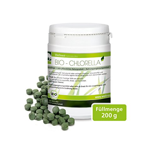 Wellnest Bio Chlorella 200 g | Detox Superfood vegan | Algen reich an Mineralstoffen, Vitaminen und...