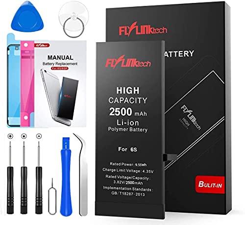 Batería para iPhone 6s 2500mAH con 46% más de Capacidad Que la batería Origina, FLYLINKTECH Reemplazo de Alta Capacidad Batería para iPhone 6s con Kits de Herramientas de reparación, Cinta Adhesiva