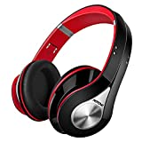 Mpow 059 Auriculares Diadema Bluetooth, 25hrs de Reproducir, Sonido Estéreo, CVC 6.0, Auriculares Diadema Inalámbricos con Micrófono, Cascos Bluetooth Diadema Plegable para TV, PC, Móvil, Rojo