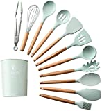 Durable 11 piezas de silicona utensilios de cocina utensilios de cocina conjunto de herramientas de cocción de manijas de madera para utensilios de cocina antiadherentes Incluye pinzas de pasta de pas