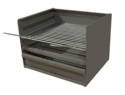 Cajón para Barbacoa con parilla, barbacoa rectangular 50x41 carbón y leña con 3 alturas y cajón para cenizas.