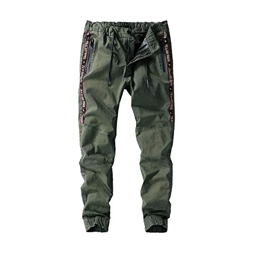 Zestion Mens Casual Trousers with Drawstring Multi-Pocket Personalized Letter 32 ArmyGreen