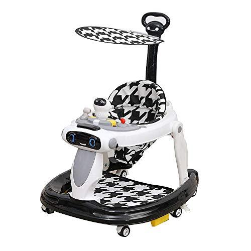YumEIGE Hardloophulp van PP-materiaal, groot chassis anti-rolgordijn, met schuiver en luifel, kan 15 tot 24 maanden worden gebruikt, belastbaar tot 40 kg zwart
