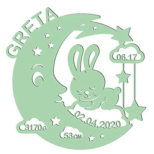 LAUBLUST Schlummerlicht Mond-Hase - Personalisiertes Baby-Geschenk zur Geburt & Taufe - LED Beleuchtung | Mintgrün