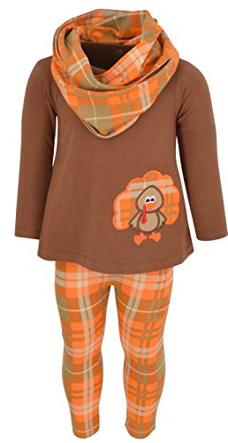 Unique Baby Girls 3 Piece Thanksgiving Turkey Embroidery Plaid Outfit (4t)