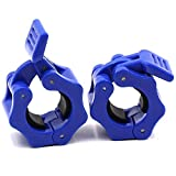 IADUMO 1 Inch Weighted Bar Clamps, Standard 1'' Diameter Barbell Collars Quick Release Pair of Locking Gym Plates Clips for Weightlifting Workout Fitness (Blue)
