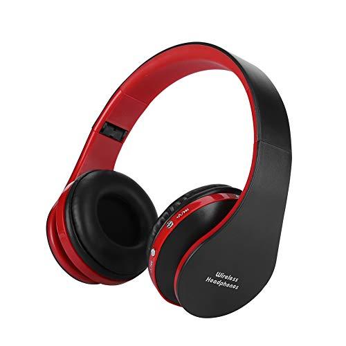 Garsent draadloze hoofdtelefoonhoofdtelefoon, opvouwbaar hifi-geluid Bluetooth op oortelefoon voor PS4, iPhone, laptop, tablets. (Zwart en rood)