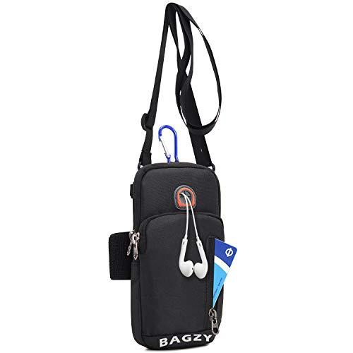 BAGZY Sport Armtasche Armbänder Reisepass Flug Flugticket Tasche Crossbody Schultertasche Sport-Armband Hülle Laufen Handytasche Reise Brieftasche Geldgürtel Hüfttasche für iPhone 6s Plus Schwarz
