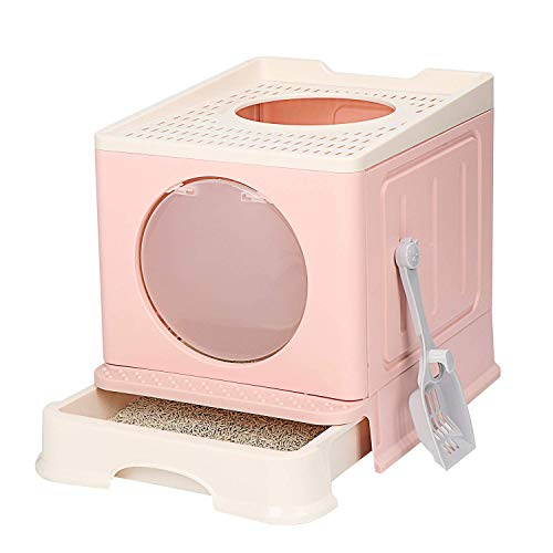 Foldable Cat Litter Box Cat Potty Top Entry Type AntiSplashing Cat SuppliesCat Litter Pan with Cat Litter Scoop Pink