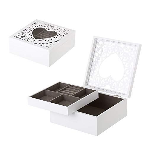 Joyero con Bandeja de Madera Blanco romántico para Dormitorio Vitta - LOLAhome