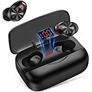 True Wireless Earbuds Bluetooth 5.0, in-Ear IPX5 Waterproof Bluetooth Headphones 126H Playtime with LED Display Charging Case Touch Control for Sports,Workout,Gym (019)