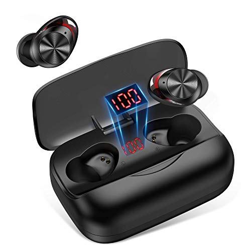 Wireless Earbuds Bluetooth 5.0, Sports Bluetooth Headphones 50H Playtime in-Ear TWS Stereo HiFi Sound Bluetooth Earbuds Wireless Earphones with Charging Case (Black)