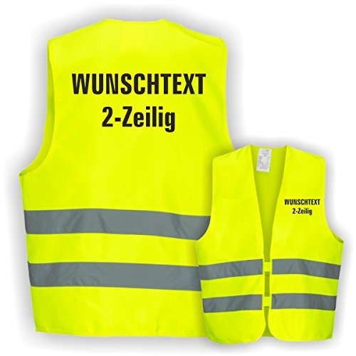 Warnweste GELB Sicherheitsweste Weste Ordner Security Crew (Text nach Wunsch 2 Zeilig 1 Weste)