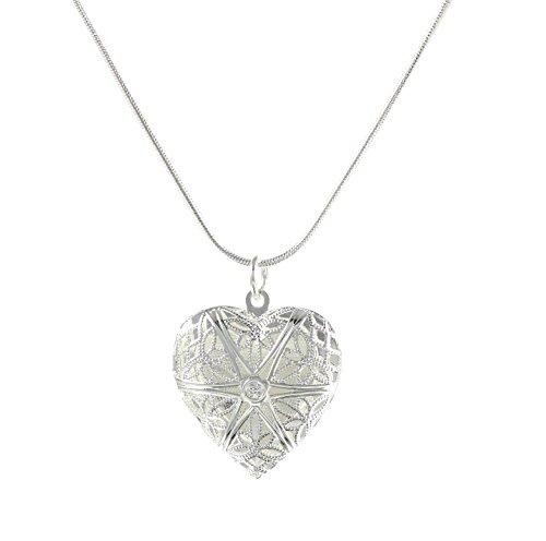 lau-fashion Halskette Herz Medaillon Damen Foto Geschenk Anhänger Versilbert Ø 25mm