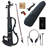 Amdini 4/4 Black Colored Solid Wood Electric/Silent Violin Kit with Ebony Fittings (Full Size)