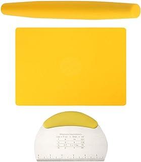 Hemoton Lot de 3 tapis de cuisson en silicone antiadhésif avec grattoir à pâte, hachoir et rouleau à pâtisserie pour la cu...