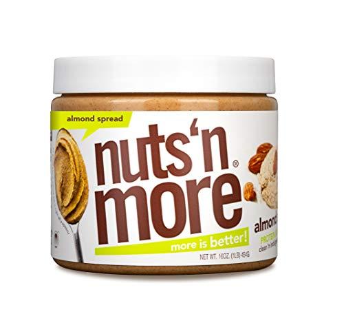 Nuts 'N More Mantequilla De Almendras Para Untar, Bocadillo Saludable De Mantequilla De Nueces Alta En Proteínas, Omega 3, AntioxidantesFrasco De 16 Oz unisex-adulto|Marrón|1 Libra (Paquete De 1)