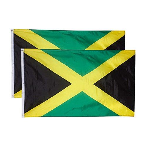 Jamaica vlaggen - 2-delige outdoor 3x5 voeten Jamaica Vlaggen, Jamaicaanse nationale vlag Banners, dubbel gestikte polyester vlaggen met messing grommets