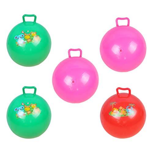 STOBOK Hüpfball Kinder Sprungball mit Haltegriff 25 cm Aufblasbare Übungsball Sprungball 5 Stücke Zufällige Farbe PVC Bälle Wiederaufblasbar Spielzeug Zuhause Kindergarten