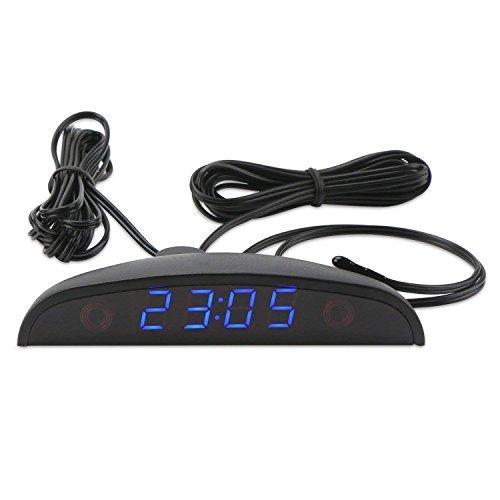 DC 8~30V Digital Reloj Eléctrico Termómetro Voltímetro -40~120℃ Temperatura Voltaje Coche Reloj Monitor Automóvil Tiempo Temperatura Voltios Azul Display Medidor con Dos Sondas Impermeables