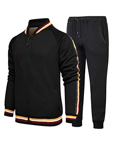 Lavnis Men's Casual Tracksuits 2 Piece Outfit Sweatsuits Running Jogging Athletic Sports Set Long Style Black L