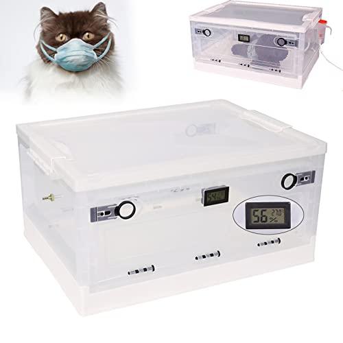 AqGwfcH Jaula Plegable para Mascotas, Incubadora Cachorros 60L, Caja Atomización para Mascotas con Tabla Temperatura y Humedad, Durable, Fácil de Montar, para Cuidado...